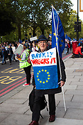 A man wears the sign Brexit wrecks it during the People's Vote March on 19th october.