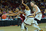 March 18, 2016; Tempe, Ariz;  New Mexico State Aggies guard Tamera William (21) tries to corral a pass during a game between No. 2 Arizona State Sun Devils and No. 15 New Mexico State Aggies in the first round of the 2016 NCAA Division I Women's Basketball Championship in Tempe, Ariz. The Sun Devils defeated the Aggies 74-52.