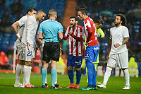 Real Madrid's player Pepe, Danilo Luiz Da Silva and Marcelo and Sporting de Gijon's player Victor R. and Viguera during match of La Liga between Real Madrid and Sporting de Gijon at Santiago Bernabeu Stadium in Madrid, Spain. November 26, 2016. (ALTERPHOTOS/BorjaB.Hojas)