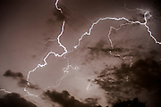 Lightning bolt during a lightning storm