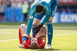 June 23, 2018 - Moscou, Rússia - MOSCOU, MO - 23.06.2018: BÉLGICA Y TÚNEZ - Thibaut Courtois of Belgium and Wahbi Khazri of Tunisia during match between Belgium and Tunisia valid for the second round of Group G of the 2018 World Cup, held at the Otkrytie Arena in Moscow, Russia. (Credit Image: © Marcelo Machado De Melo/Fotoarena via ZUMA Press)