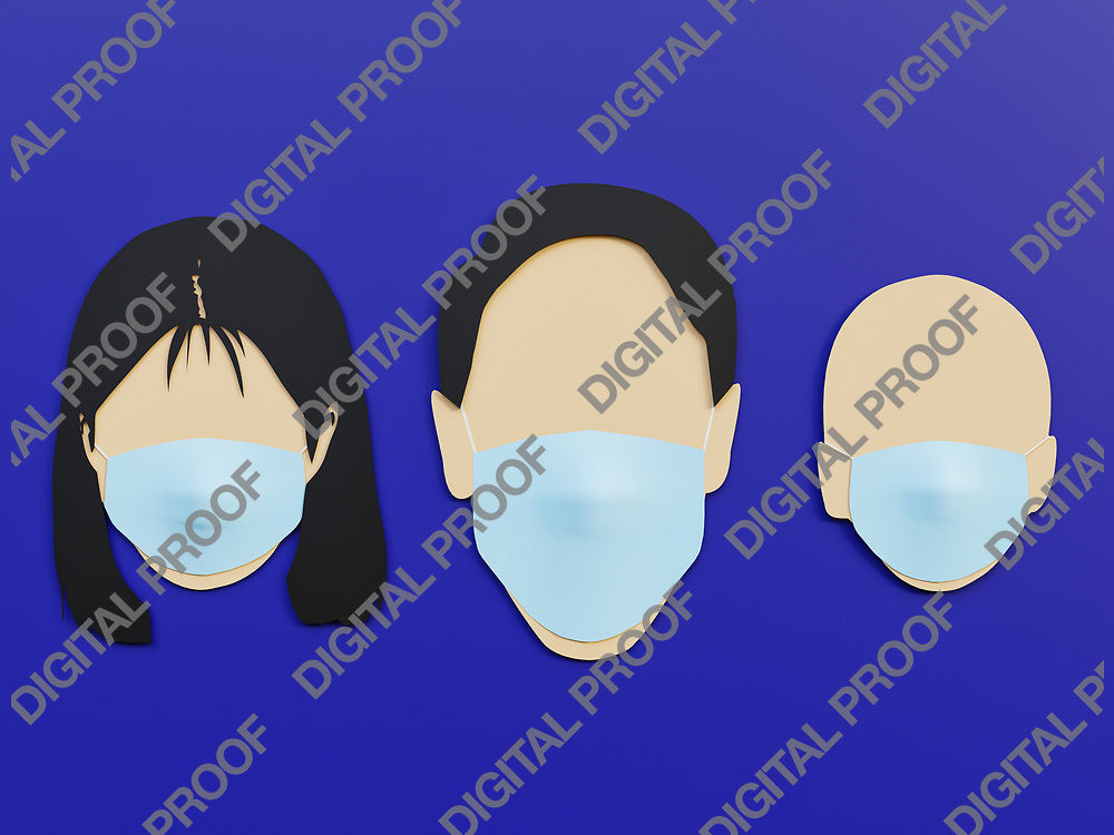 Family, Men woman and baby wearing medical mask as protection in Phantom Blue background with minimalist concept - 3D Rendering Concept