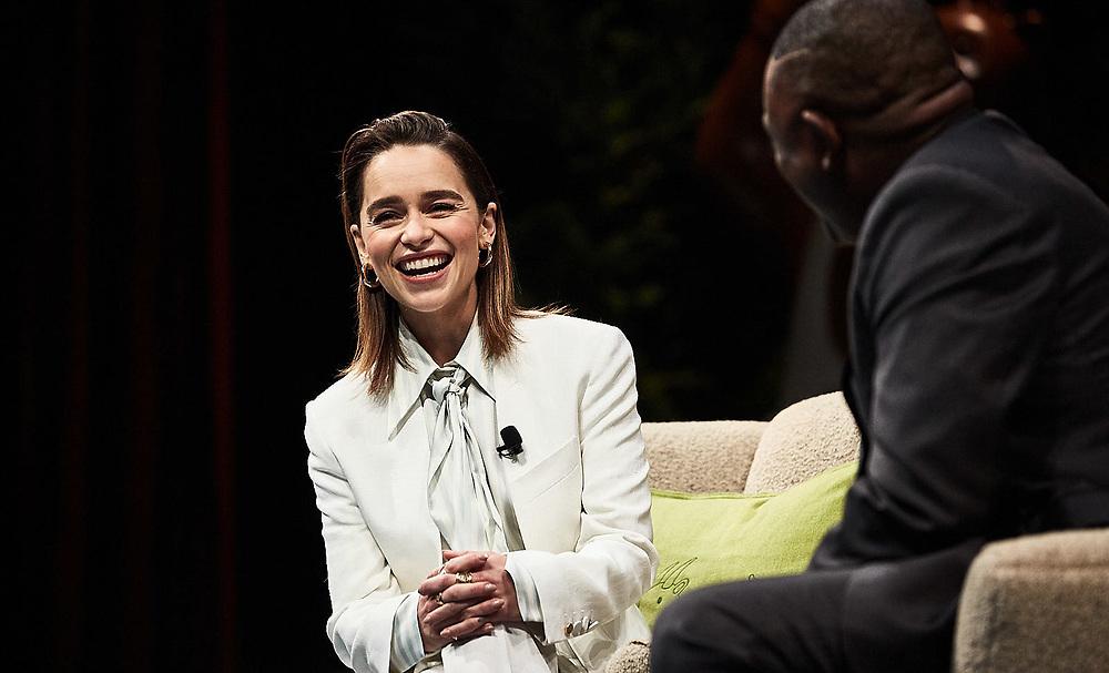 Emilia Clark and Doctor Bennet Omalu at Salesforce's 2019 Dreamforce event