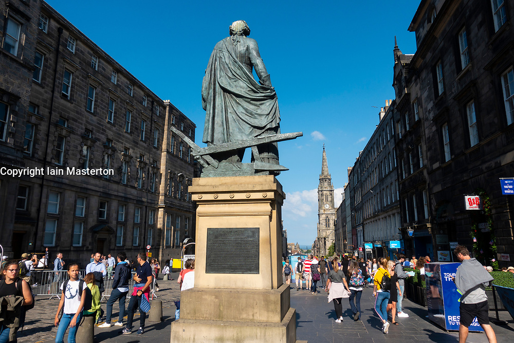 Statue of Adam Smith on the Royal Mile in Edinburgh, Scotland, UK