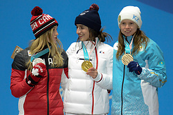 February 12, 2018 - Pyeongchang, South Korea - JUSTINE DUFOR-LAPOINTE of Canada , PERINE LAFFONT of France and YULIA GALYSHEVA of Kazakhstan with their medals from the Ladies's Moguls event in the PyeongChang Olympic games. (Credit Image: © Christopher Levy via ZUMA Wire)
