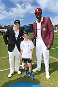 Captains Tom Latham (NZL) and Jason Holder (WI) with ANZ coin toss winner Boston Drysdale.<br /> New Zealand Black Caps v West Indies, Day 1 of the 2nd international test at Basin Reserve, Wellington on Friday 11th December 2020.<br /> West Indies tour of New Zealand.<br /> © Copyright photo: Andrew Cornaga / www.photosport.nz