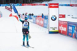 Julia Simon (FRA) celebrates during the Mixed Relay 2x 6 km / 2x 7,5 km at day 3 of IBU Biathlon World Cup 2019/20 Pokljuka, on January 23, 2020 in Rudno polje, Pokljuka, Pokljuka, Slovenia. Photo by Peter Podobnik / Sportida