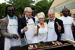 © under license to London News Pictures.  19/05/2011. LONDON, UK. Photocall for The Big Lunch. L to R  Levi Roots, London Mayor Boris Johnson,  Barbara Windsor and Antony Worrall Thompson call on Londoners to catch the street party fever. The Big Lunch is an annual one-day get together where neighbours and local communities share lunch and enjoy a street party. Last year, 800,000 people took part across the UK, over 160,000 of which were in London. Photo credit should read Bettina Strenske/LNP