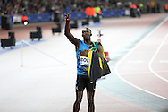 Usain Bolt of Jamaica celebrates winning the 100m final during the Sainsbury's Anniversary Games at the Queen Elizabeth II Olympic Park, London, United Kingdom on 24 July 2015. Photo by Phil Duncan.