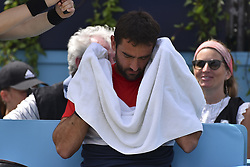 June 23, 2018 - London, England, United Kingdom - Marin Cilic of Croatia during the semi final match against Nick Kyrgios of Australia during Day six of the Fever-Tree Championships at Queens Club on June 23, 2018 in London, United Kingdom  (Credit Image: © Alberto Pezzali/NurPhoto via ZUMA Press)