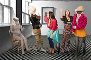 Models discuss issues of importance with mannequins who appear to be responsive.