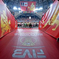 07.09.2014, Jahrhunderthalle, Breslau, POL, FIVB WM, Australien vs Venezuela, Gruppe A, im Bild ZDJECIE PLAKATOW, HALA STULECIA OKLEJENIE BRANDOWANIE FIVB, INFRASTRUKTURA KIBICE DOPING OPRAWA // during the FIVB Volleyball Men's World Championships Pool A Match beween Australia and Venezuela at the Jahrhunderthalle in Breslau, Poland on 2014/09/07. EXPA Pictures © 2014, PhotoCredit: EXPA/ Newspix/ Michal Stanczyk<br /> <br /> *****ATTENTION - for AUT, SLO, CRO, SRB, BIH, MAZ, TUR, SUI, SWE only*****