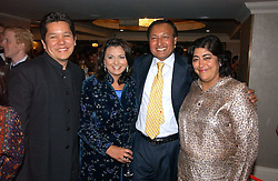 Left to right, PAUL BERGES, LISA AZIZ and DR ALI and film director GURINDER CHADHA at the 10th Anniversary Asian Business Awards 2006 at the London Grosvenor Hotel Park Lane, London on 19th April 2006.<br />