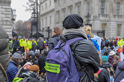 Extinction Rebellion campaigners came together in London for Rebellion Day 2. The protesters sat down outside Downing Street and observed a moment of silence. The pro-people and planet group are calling on the Government to reduce carbon emissions to net zero by 2025 and to reduce consumption levels. London, 24 November 2018.