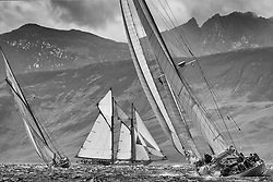 """Halloween 1926 Berm Sloop with Altair 1931 Schooner.<br /> Limited to ten prints in Black & White, printed on fine art paper 24""""x16"""", stamped and signed."""
