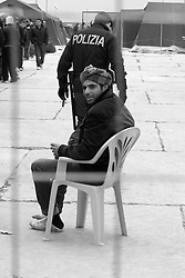 Centro di accoglienza per immigrati tunisini allestito a Manduria in provincia di Taranto, nelle campagne sulla strada per Oria (Br)