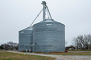 Newer elevators such as these at Minco Grain and Supply are made of steel rather than concrete.