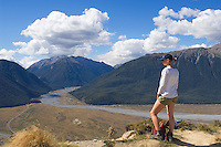 Tramper enjoying view in Arthur's Pass national park