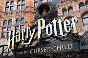 Sign at the Palace Theatre which is showing Harry Potter and the Cursed Child in the West End on 10th August 2021 in London, United Kingdom. The Palace Theatre is a West End theatre in the City of Westminster in London. Its red-brick facade dominates the west side of Cambridge Circus behind a small plaza near the intersection of Shaftesbury Avenue and Charing Cross Road.