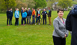Pictured: Ruth Davidson backed by local councillors and supporters perepares to be interviewed<br /> <br /> Scottish Tory leader Ruth Davidson and Scottish Secretary David Mundell took to the campaign trail in West Linton today.<br /> <br /> Ger Harley | EEm 13 May 2017