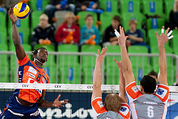Mory Sidibie #6 of ACH Volley during volleyball match between ACH Volley (SLO) and Euphony Asse-Lennik (BEL) in 3rd Leg of Pool D of 2013 CEV Champions League on November 14, 2012 in Arena Stozice, Ljubljana, Slovenia. (Photo By Urban Urbanc / Sportida)