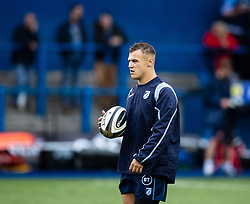 Jarrod Evans of Cardiff Blues during the pre match warm up<br /> <br /> Photographer Simon King/Replay Images<br /> <br /> Guinness PRO14 Round 2 - Cardiff Blues v Edinburgh - Saturday 5th October 2019 -Cardiff Arms Park - Cardiff<br /> <br /> World Copyright © Replay Images . All rights reserved. info@replayimages.co.uk - http://replayimages.co.uk