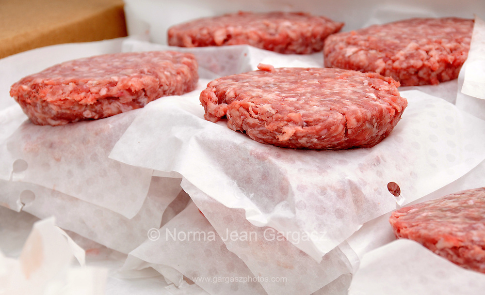 Beef patties for hamburgers.