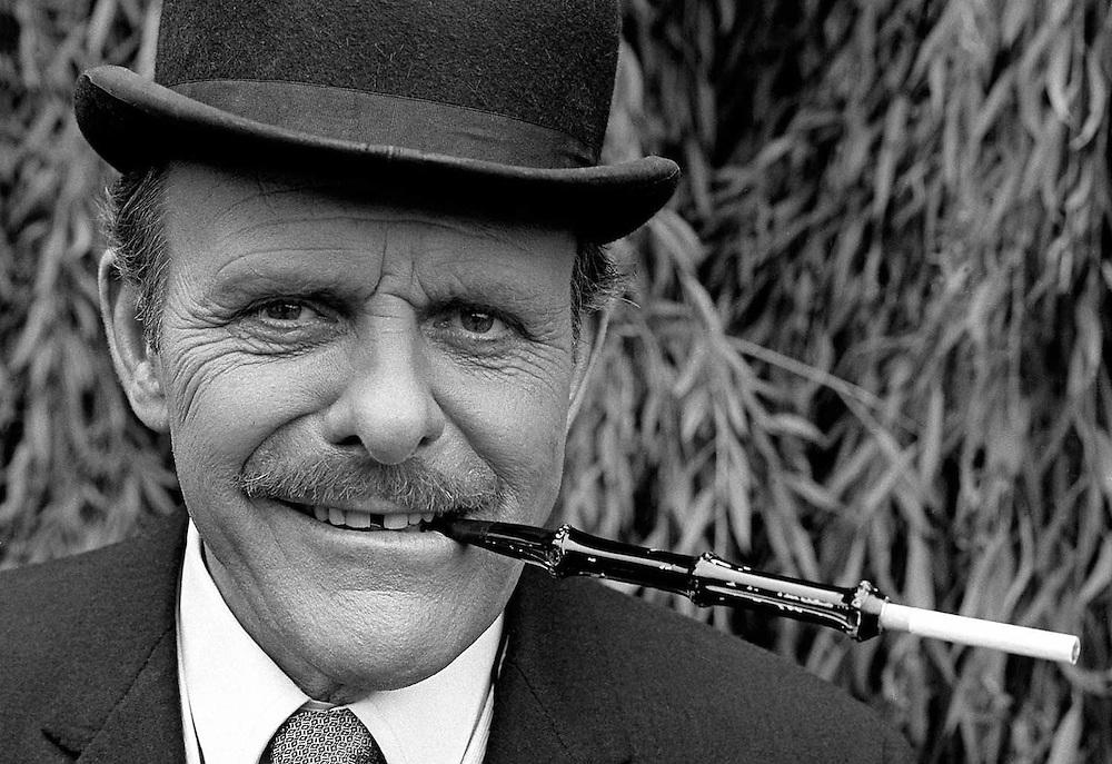 British actor and comedian Terry Thomas seen at the Elstree film studIos in April 1970. Photographed by Terry Fincher