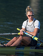 """Amsterdam. NETHERLANDS. NZL W1X. Emma TRIGG, """"Pushing Off"""" 2014 FISA  World Rowing. Championships.  De Bosbaan Rowing Course . 08:04:11  Thursday  21/08/2014  [Mandatory Credit; Peter Spurrier/Intersport-images]"""