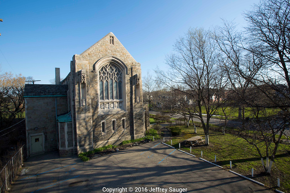 St. Columba Activity Hall and Church in the Jefferson-Chalmers Historic Business District and neighborhood in Detroit, Michigan, Wednesday, April 20, 2016. <br /> <br /> On September 7, 2016, The National Trust for Historic Preservation gave the Jefferson-Chalmers neighborhood in Detroit's lower east side the distinction of a National Treasure. This is the first in the state of Michigan and the first project under the National Trust's ReUrbanism initiative. (Photo by Jeffrey Sauger)
