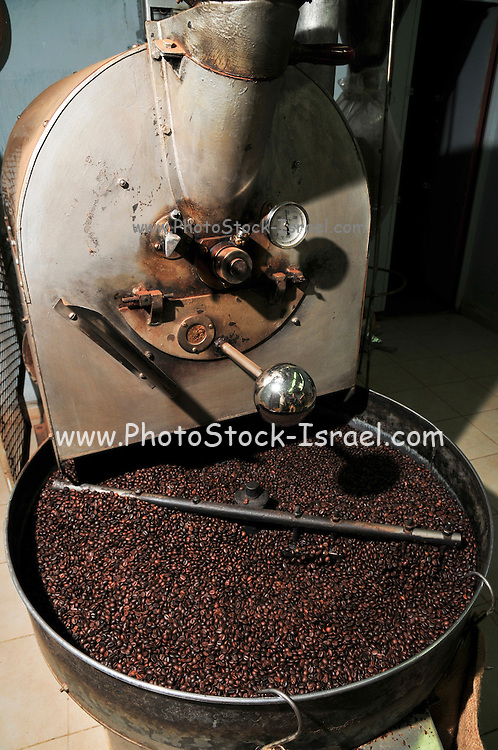 Israel, Nazareth, small coffee roasting shop  Beans being roasted in a roaster