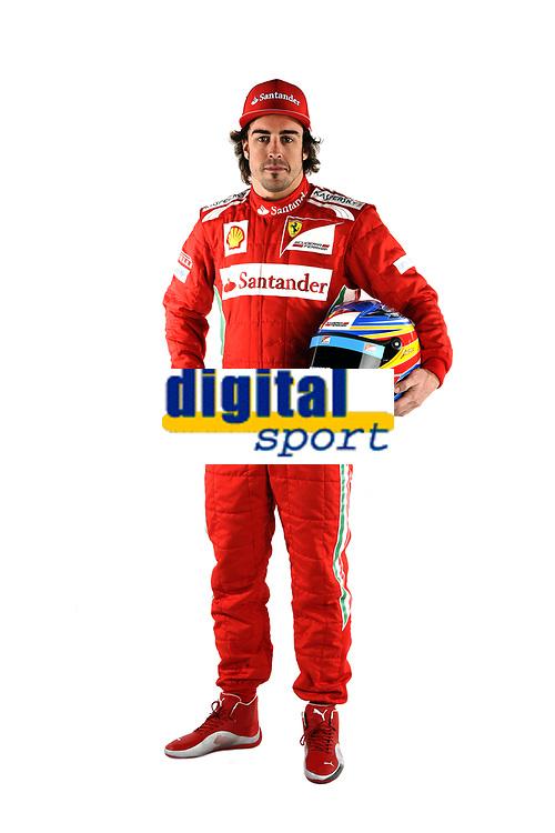 MOTORSPORT - F1 2012 - SCUDERIA FERRARI F2012 LAUNCH - MARANELLO (ITA) - 03/02/2012 - PHOTO : DPPI<br /> FERRARI F2012 2012 -<br /> ALONSO FERNANDO (SPA) - FERRARI F2012 - AMBIANCE PORTRAIT