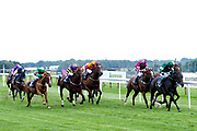 "Taurean Dancer ridden by Oisin Murphy and Trained by Roger Teal, War of Succession ridden by Marco Ghiani trained by Tony Newcombe, Rocksette ridden by Toby Eley trained by Adam West, Buzz Lightyere ridden by Daniel Muscutt trained by Patrick Chamings, Khaan ridden by Martin Dwyer trained by Micahel Appleby, Sussex Girl ridden by Franny Norton trained by John Berry, Frantical ridden by Eisha Whittington trained by Tony Carroll, Puzzle Cache ridden by Joey Haynes trained by Rod Millman, Prerogative ridden by David Egan trained by Tony Carroll, Valentune Mist ridden by Sophie Ralston trained by James Grassick in the Play """"Four From The Top"""" at Valuerater.co.uk Handicap - Mandatory by-line: Robbie Stephenson/JMP - 27/08/2019 - PR - Bath Racecourse - Bath, England - Race Meeting at Bath Racecourse"