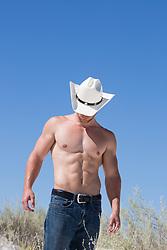 Shirtless muscular cowboy against a blue sky