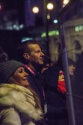 Steve Cram watchesThe Human League perform on the Waverley stage, Edinburgh's Hogmanay Street Party, Sunday 31st December.