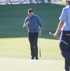 Jamie Dornan after his put at the 18th. Alfred Dunhill Links Championship this afternoon at St Andrews.