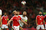 Jonathan Williams of Wales in action. Wales v Rep of Ireland , FIFA World Cup qualifier , European group D match at the Cardiff city Stadium in Cardiff , South Wales on Monday 9th October 2017. pic by Andrew Orchard, Andrew Orchard sports photography