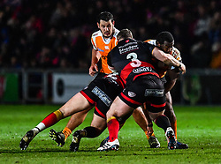 Cheetahs' Ox Nche is tackled by Dragons' Elliot Dee and Dragons' Lloyd Fairbrother<br /> <br /> Photographer Craig Thomas/Replay Images<br /> <br /> Guinness PRO14 Round 18 - Dragons v Cheetahs - Friday 23rd March 2018 - Rodney Parade - Newport<br /> <br /> World Copyright © Replay Images . All rights reserved. info@replayimages.co.uk - http://replayimages.co.uk