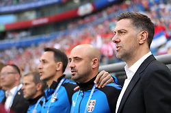 SAMARA, June 17, 2018  Serbia's head coach Mladen Krstajic (1st R) is seen prior to a group E match between Costa Rica and Serbia at the 2018 FIFA World Cup in Samara, Russia, June 17, 2018. (Credit Image: © Fei Maohua/Xinhua via ZUMA Wire)