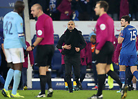 Football - 2017 / 2018 Carabao (EFL/League) Cup - Quarter-Final: Leicester City vs. Manchester City<br /> <br /> Manchester City Manager Pep Guardiola complains to Bobby Madley referee at the King Power Stadium.<br /> <br /> COLORSPORT/LYNNE CAMERON