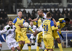 February 17, 2018 - Leuven, BELGIUM - OHL's Kenneth Schuermans fights for the ball during a soccer game between OH Leuven and KFCO Beerschot Wilrijk, in Heverlee, Leuven, Saturday 17 February 2018, on day 27 of the division 1B Proximus League competition of the Belgian soccer championship. BELGA PHOTO BRUNO FAHY (Credit Image: © Bruno Fahy/Belga via ZUMA Press)