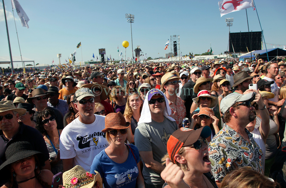 03 May 2015. New Orleans, Louisiana.<br /> The New Orleans Jazz and Heritage Festival. <br /> The crowd enjoying Lenny Kravitz at the Acura stage. <br /> Photo; Charlie Varley/varleypix.com