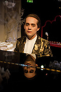 CHARLES ELIASCH PLAYING THE DEVOTEE, Rehearsal for As I Like it. A memory by Amanda Eliasch and Lyall Watson. Chelsea Theatre. Worl's End. London. 4 July 2010<br /> <br />  , -DO NOT ARCHIVE-© Copyright Photograph by Dafydd Jones. 248 Clapham Rd. London SW9 0PZ. Tel 0207 820 0771. www.dafjones.com.