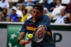 May 30, 2019 - Paris, France - Argentina's Juan Martin DEL P775347905O hits a ball during the men's singles second round of the French Open tennis tournament against Japan's Yoshihito NISHIOKA at Roland Garros in Paris, France on May 30, 2019. (Credit Image: © Ibrahim Ezzat/NurPhoto via ZUMA Press)
