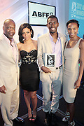 Miami Beach, Florida, NY-June 23: (L-R) Jeff Friday, Founder, The American Black Film Festival, Actress Sherial Mckinney(winner, ABFF Star Project) Robert Hunter(winner, ABFF Star Project) and Nicole Friday attends the 2012 American Black Film Festival Winners Circle Awards Presentation held at the Ritz Carlton Hotel on June 23, 2012 in Miami Beach, Florida (Photo by Terrence Jennings)