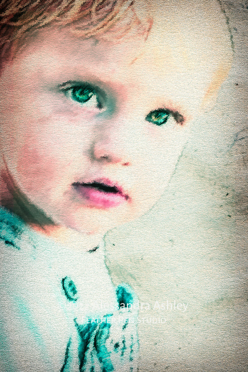 High-key portrait of little boy with striking blue eyes blends watercolor effects with original photo.