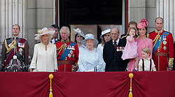 (left to right) The Earl of Wessex, Duchess of Cornwall, The Prince of Wales, Princess Eugenie, Queen Elizabeth II, Princess Beatrice, The Duke of Edinburgh, Duchess of Cambridge holding Princess Charlotte, Prince George and The Duke of Cambridge on the balcony of Buckingham Palace, in central London, following the Trooping the Colour ceremony at Horse Guards Parade as the Queen celebrates her official birthday today.