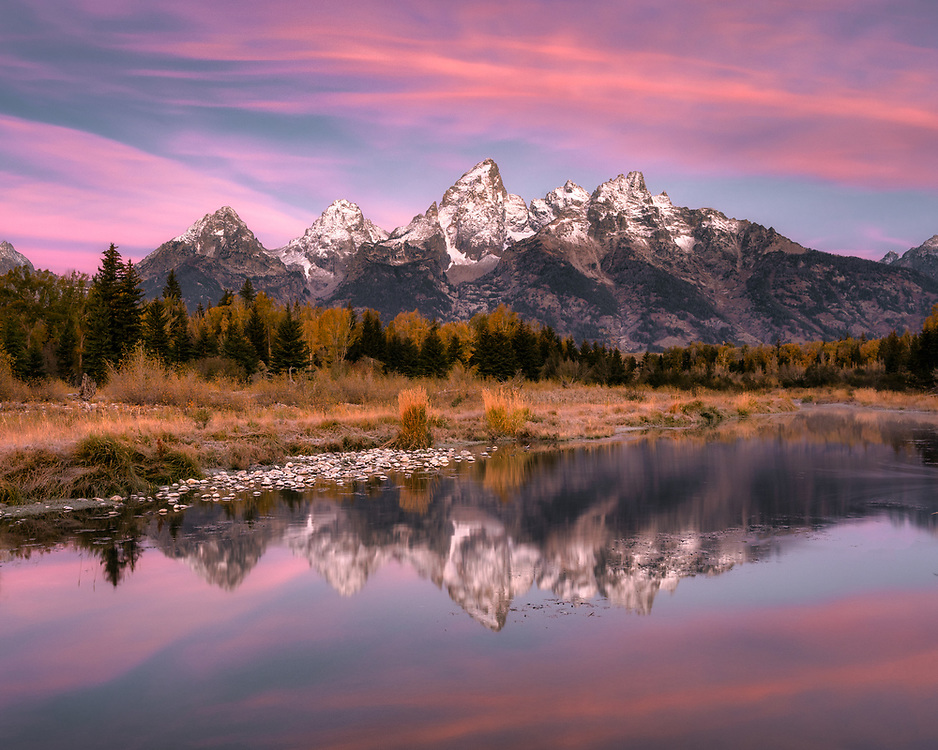 Sunrise and Teton Range reflection from Schwabcher Landing in Grand Teton National Park, Wyoming USA