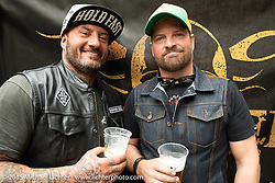 Alessandro Bado and Michael Kuratli at the Alessandro Bado and Michael  at the Art and Wheels art and motorcycle show in the M45 gallery in Basel, Switzerland. May 16, 2015. Photography ©2015 Michael Lichter.