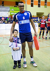 Israel Jose Dos Santos of Salonit with his son after the volleyball match between ACH Volley   and Salonit Anhovo in Final of Slovenian Cup 2014/15, on January 17, 2015 in Sempeter, Slovenia. Photo by Vid Ponikvar / Sportida